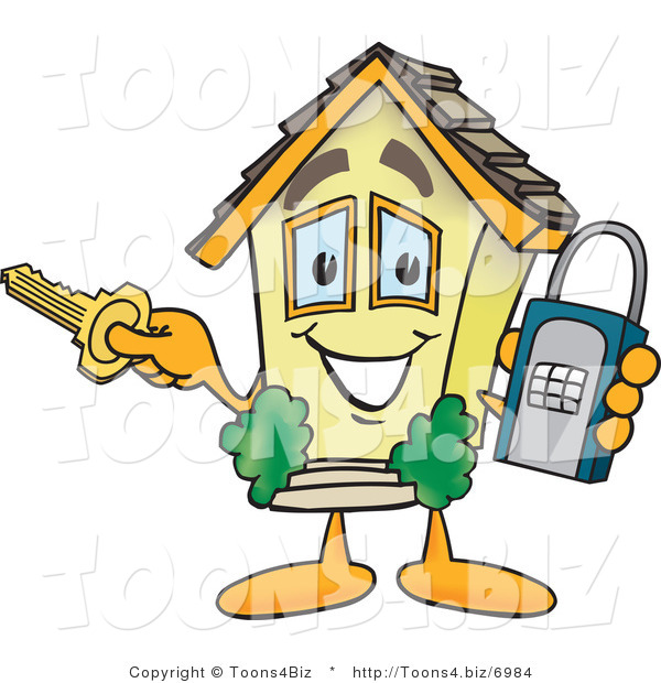 Vector Illustration of a Unlocked Cartoon Home Mascot Holding a Lock and Key