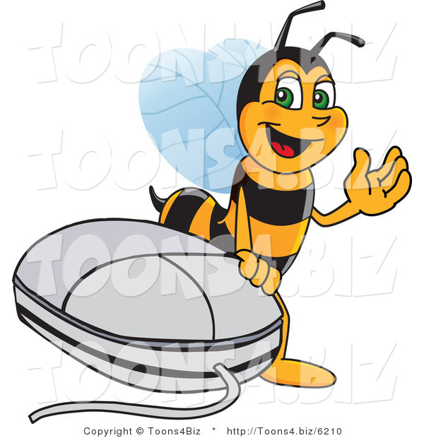 Vector Illustration of a Worker Bee Mascot by a Computer Mouse