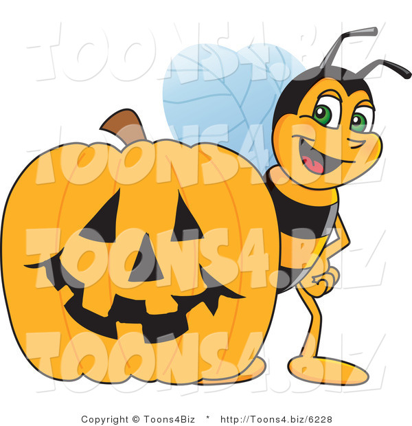 Vector Illustration of a Worker Bee Mascot by a Halloween Pumpkin