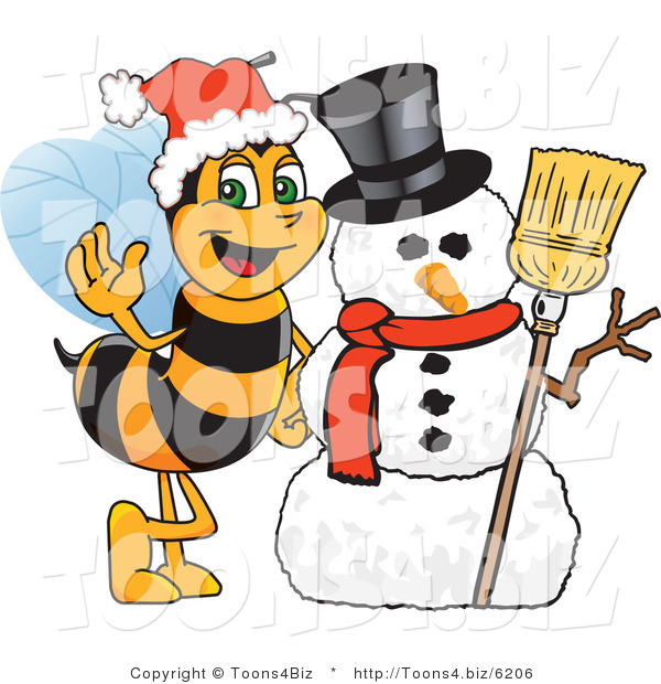 Vector Illustration of a Worker Bee Mascot by a Snowman
