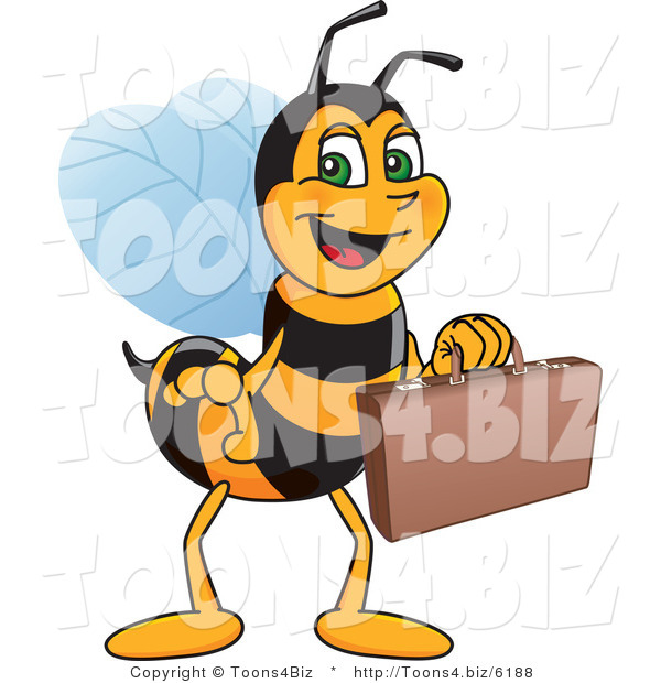 Vector Illustration of a Worker Bee Mascot Carrying a Briefcase