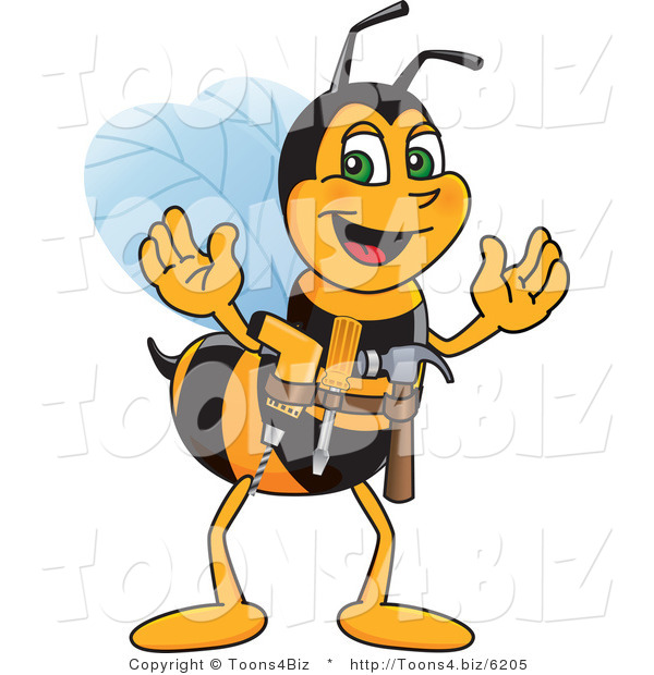 Vector Illustration of a Worker Bee Mascot Handyman