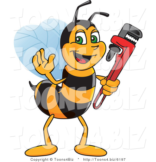 Vector Illustration of a Worker Bee Mascot Holding a Monkey Wrench