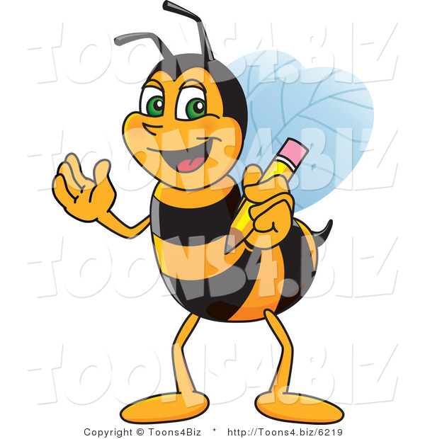 Vector Illustration of a Worker Bee Mascot Holding a Pencil