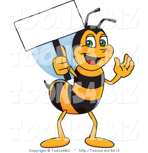 Vector Illustration of a Worker Bee Mascot Holding a Small Blank Sign