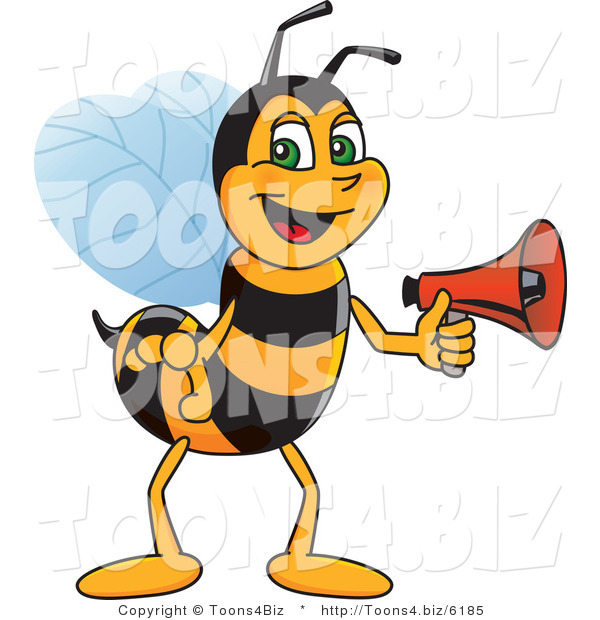 Vector Illustration of a Worker Bee Mascot Holding a Stop Sign
