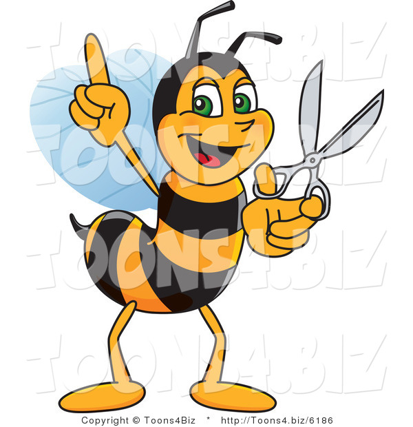 Vector Illustration of a Worker Bee Mascot Holding Scissors
