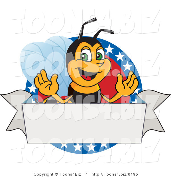 Vector Illustration of a Worker Bee Mascot Logo Mascot on a Patriotic Star Circle