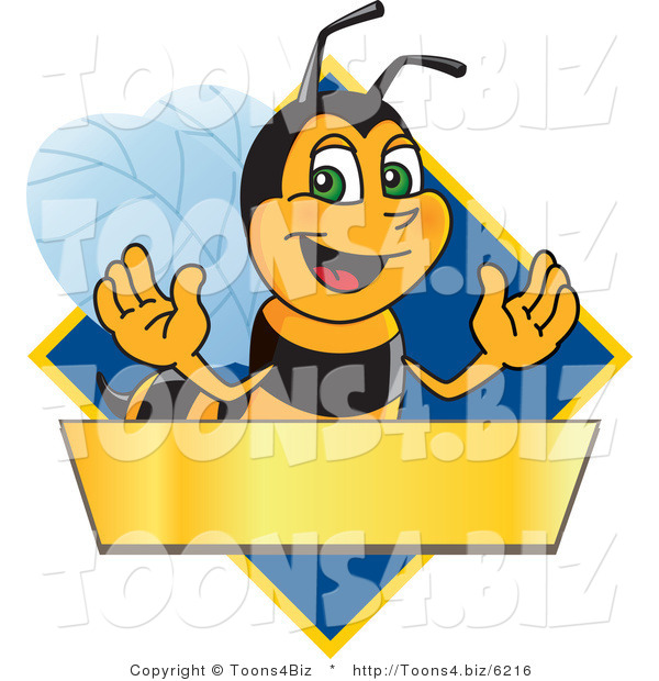 Vector Illustration of a Worker Bee Mascot Logo Mascot over a Blank Banner on a Blue Diamond