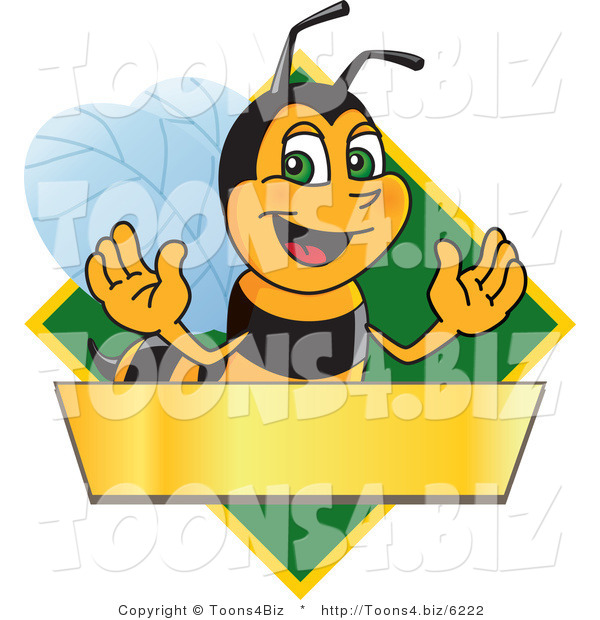 Vector Illustration of a Worker Bee Mascot Logo Mascot over a Blank Banner on a Green Diamond