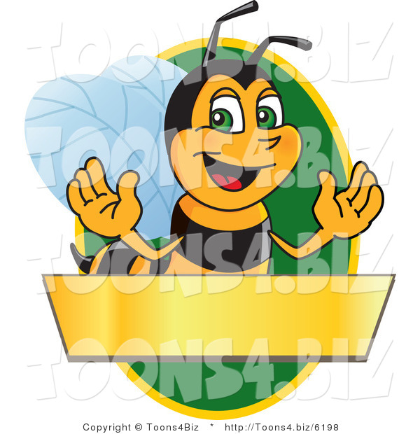 Vector Illustration of a Worker Bee Mascot Logo Mascot over a Blank Banner on a Green Oval