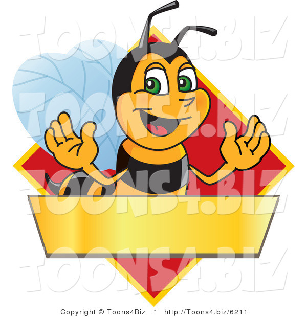 Vector Illustration of a Worker Bee Mascot Logo Mascot over a Blank Banner on a Red Diamond
