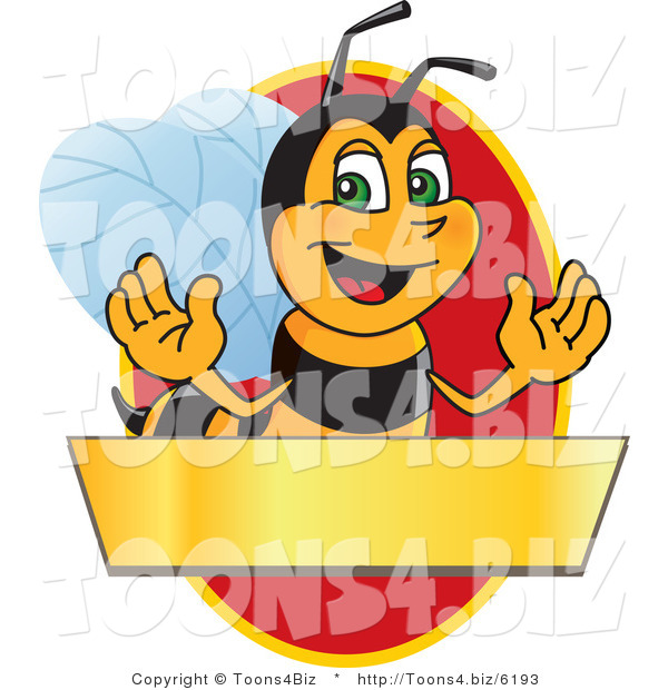 Vector Illustration of a Worker Bee Mascot Logo Mascot over a Blank Banner on a Red Oval