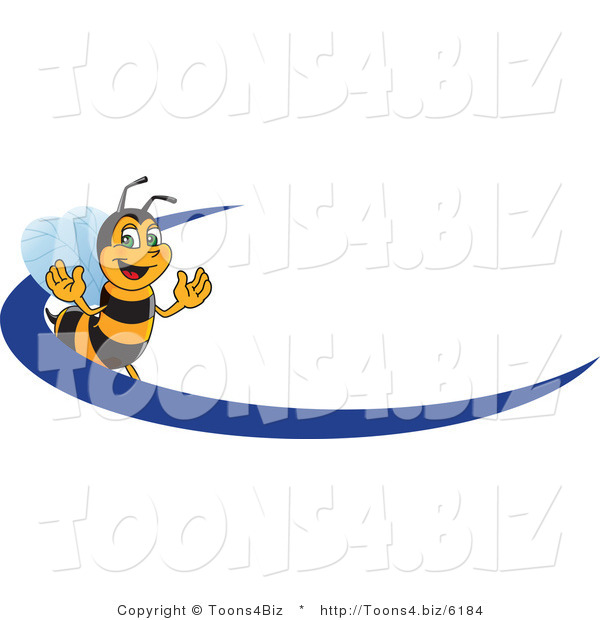 Vector Illustration of a Worker Bee Mascot Logo Mascot with a Blue Dash