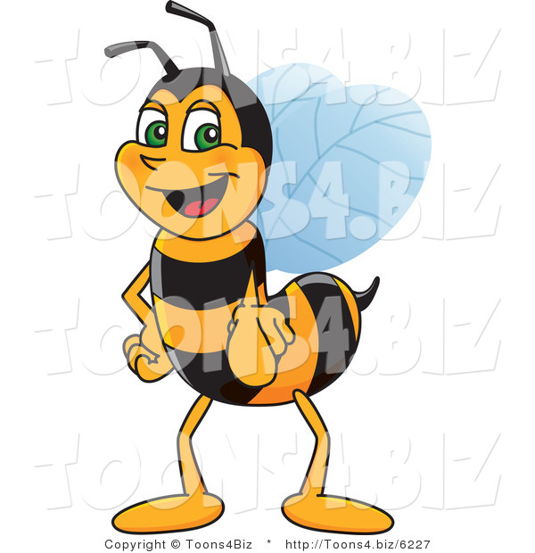 Vector Illustration of a Worker Bee Mascot Pointing Outwards