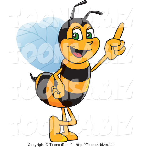 Vector Illustration of a Worker Bee Mascot Pointing Upwards
