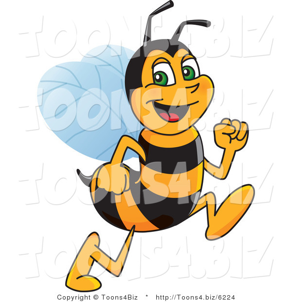 Vector Illustration of a Worker Bee Mascot Running