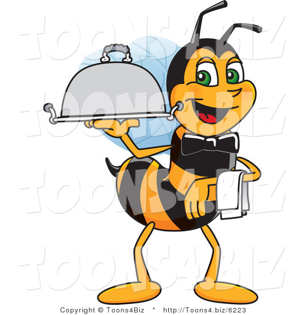 Vector Illustration of a Worker Bee Mascot Serving a Platter