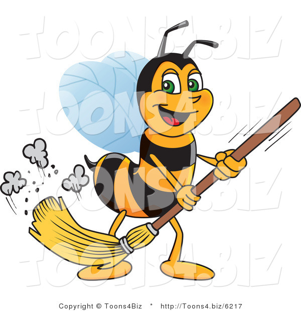 Vector Illustration of a Worker Bee Mascot Sweeping