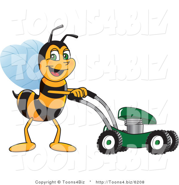 Vector Illustration of a Worker Bee Mascot Using a Lawn Mower