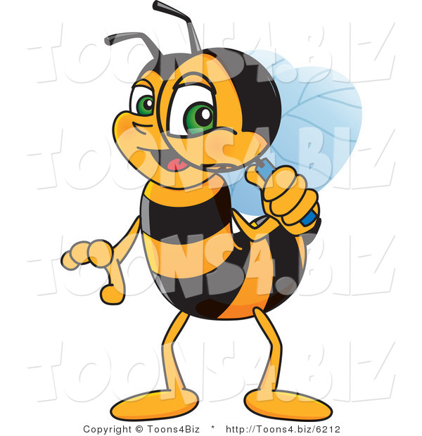 Vector Illustration of a Worker Bee Mascot Using a Magnifying Glass