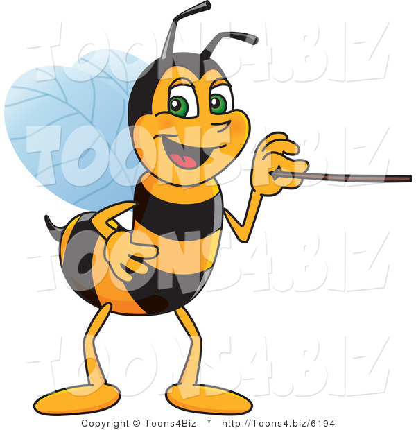 Vector Illustration of a Worker Bee Mascot Using a Pointer Stick