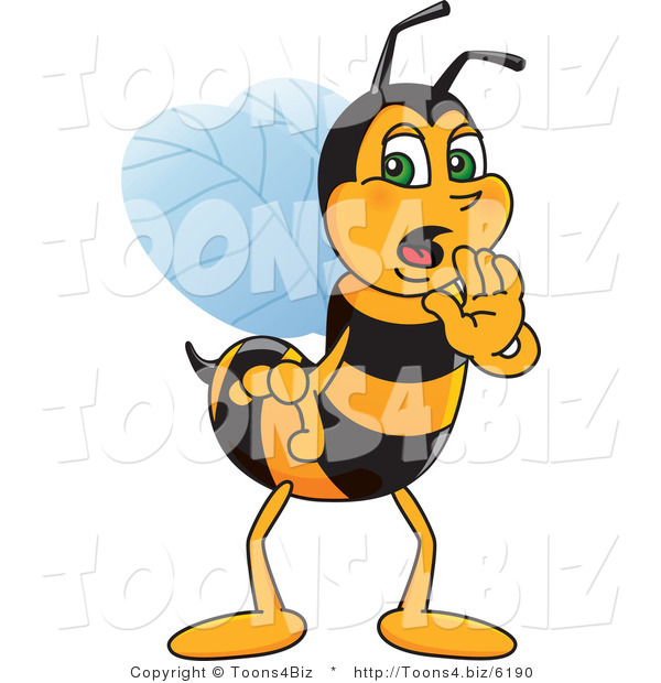 Vector Illustration of a Worker Bee Mascot Whispering