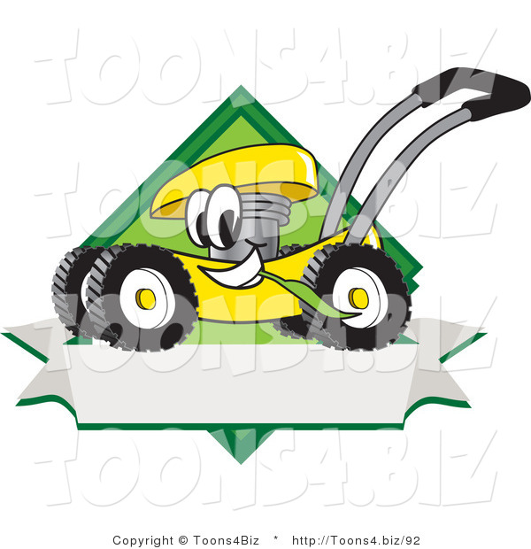 Vector Illustration of a Yellow Cartoon Lawn Mower Mascot Chewing Grass on a Blank Ribbon Label