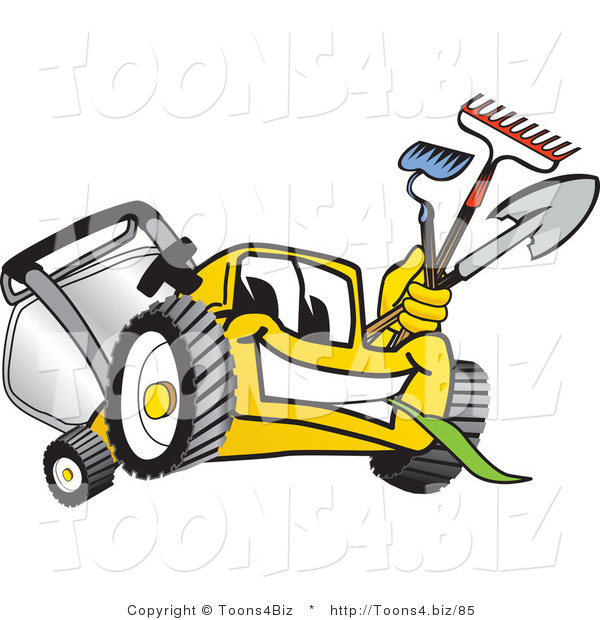 Vector Illustration of a Yellow Cartoon Lawn Mower Mascot Facing Front and Carrying Gardening Tools