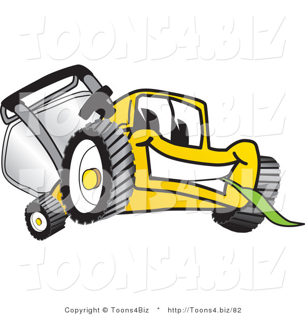 Vector Illustration of a Yellow Cartoon Lawn Mower Mascot Facing Front and Chewing on a Blade of Grass