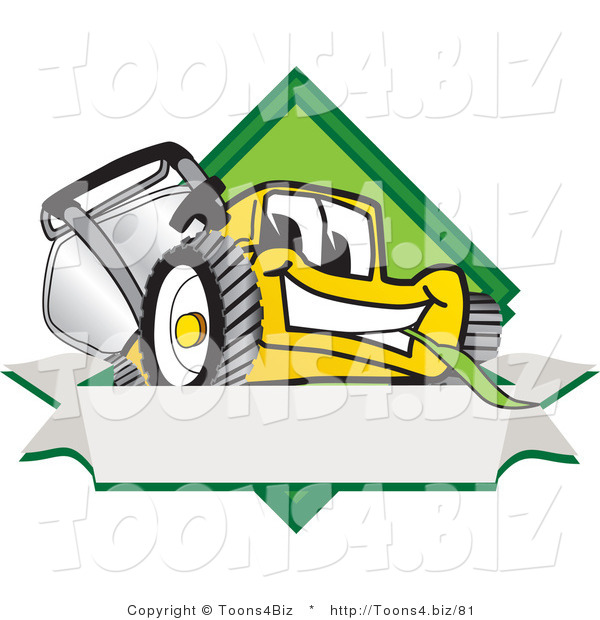 Vector Illustration of a Yellow Cartoon Lawn Mower Mascot Facing Front on a Diamond Shaped Logo with a Blank White Banner