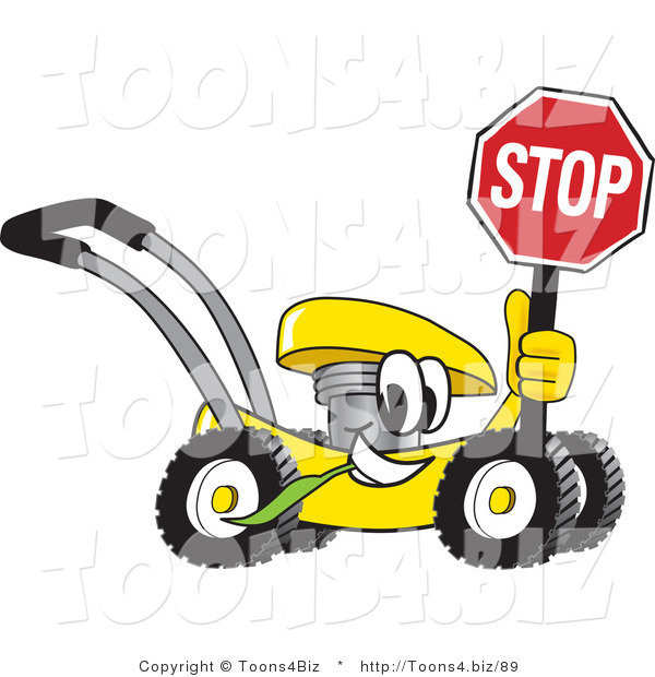 Vector Illustration of a Yellow Cartoon Lawn Mower Mascot Holding a Stop Sign