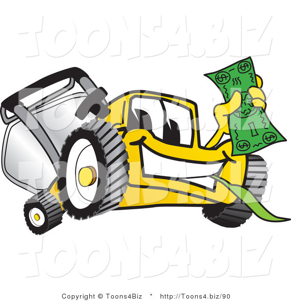 Vector Illustration of a Yellow Cartoon Lawn Mower Mascot Holding Cash