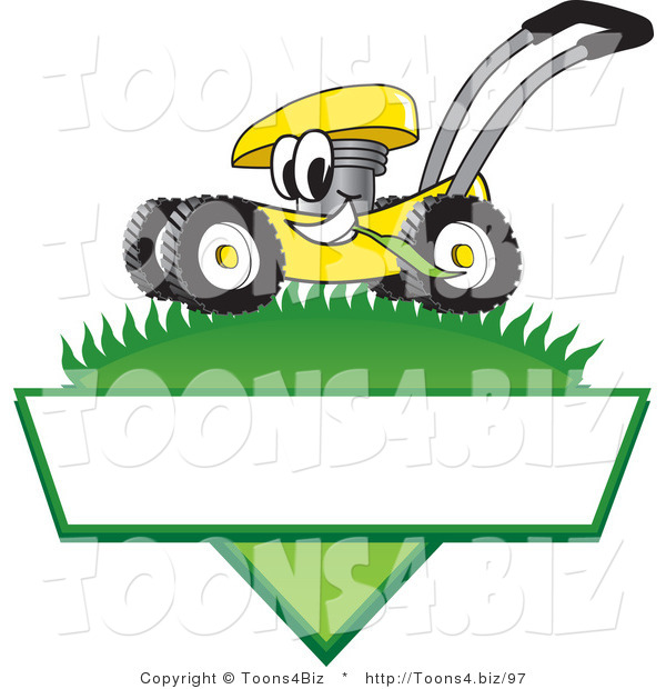 Vector Illustration of a Yellow Cartoon Lawn Mower Mascot Mowing Grass over a Blank White Label