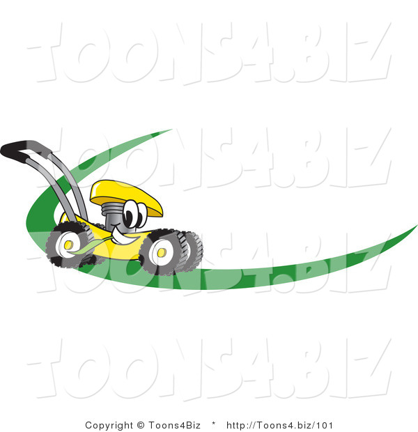 Vector Illustration of a Yellow Cartoon Lawn Mower Mascot on a Logo or Nametag with a Green Dash