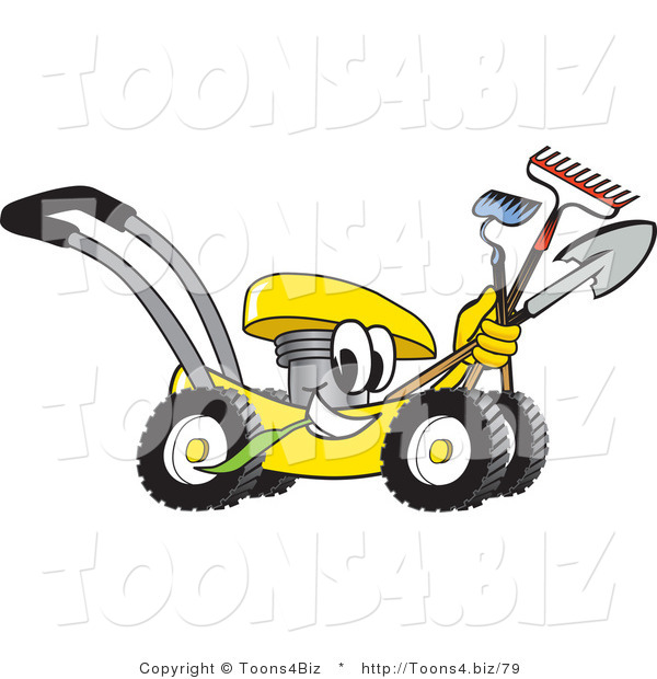 Vector Illustration of a Yellow Cartoon Lawn Mower Mascot Passing by and Carrying Gardening Tools