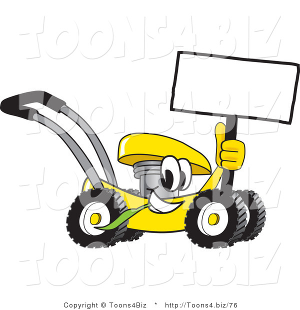Vector Illustration of a Yellow Cartoon Lawn Mower Mascot Passing by and Holding a Blank Sign