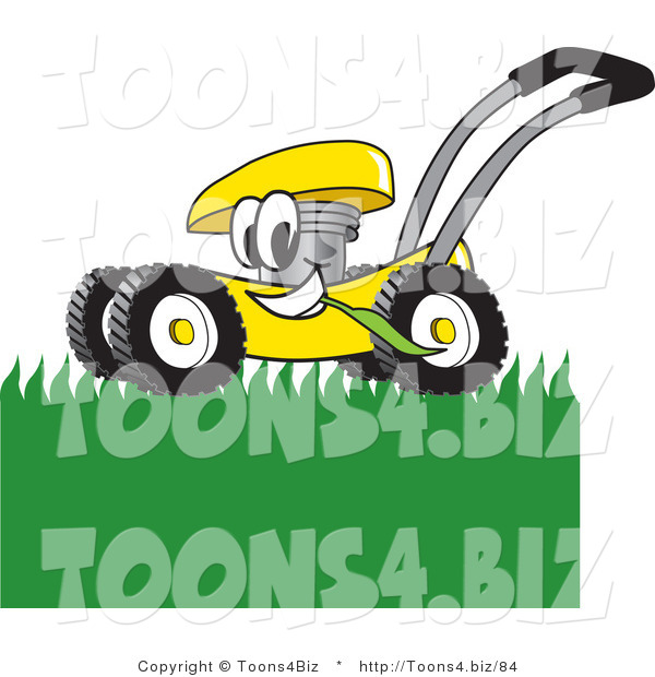 Vector Illustration of a Yellow Cartoon Lawn Mower Mascot Passing by and Mowing Grass