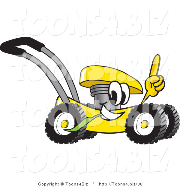 Vector Illustration of a Yellow Cartoon Lawn Mower Mascot Passing by and Pointing Upwards