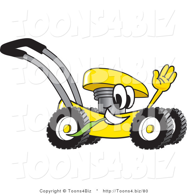 Vector Illustration of a Yellow Cartoon Lawn Mower Mascot Passing by and Waving