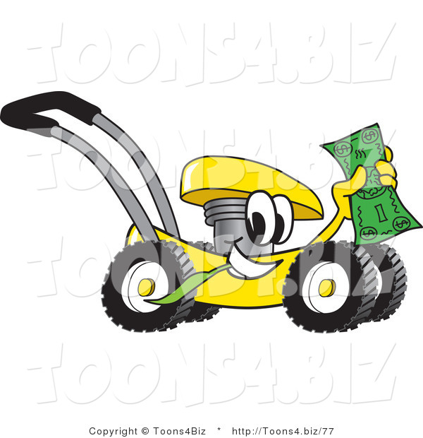Vector Illustration of a Yellow Cartoon Lawn Mower Mascot Passing by and Waving Cash in the Air