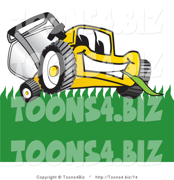 Vector Illustration of a Yellow Cartoon Lawn Mower Mascot Smiling and Chewing on Grass
