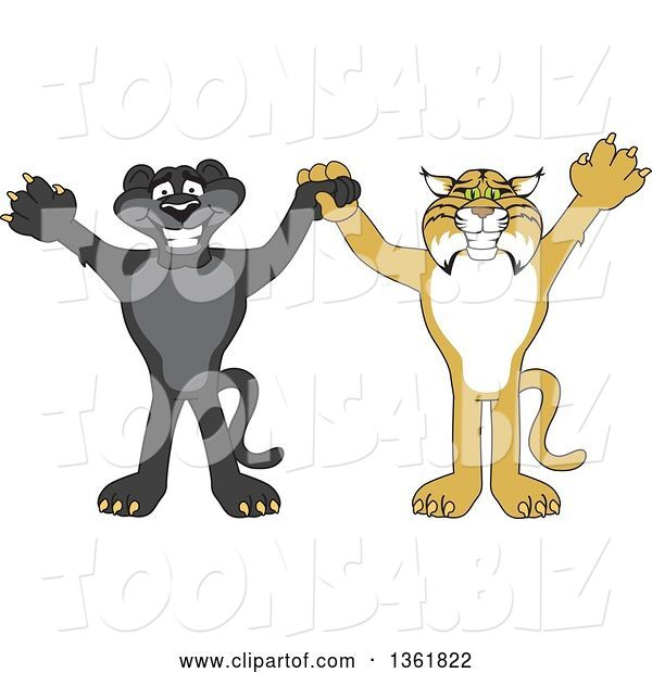 Vector Illustration of Black Panther and Bobcat School Mascots Holding Hands and Cheering, Symbolizing Sportsmanship