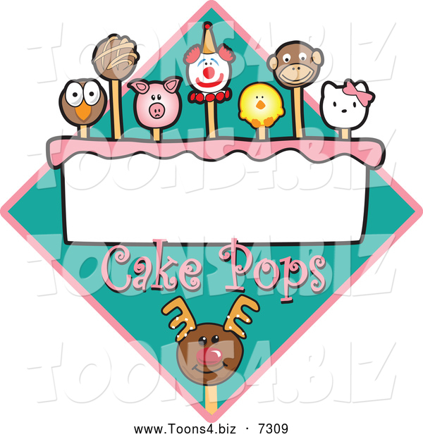 Vector Illustration of Cake Pops over a Turquoise Diamond