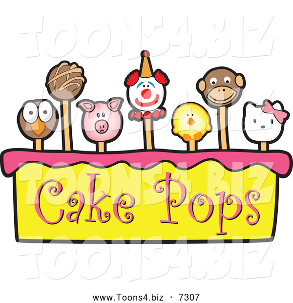 Vector Illustration of Cake Pops over Yellow and Pink with Text