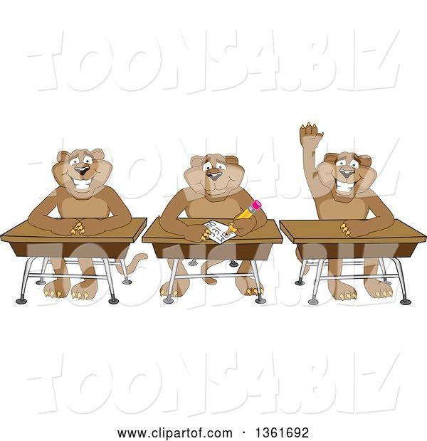 Vector Illustration of Cougar School Mascots Sitting at Desks, One Raising His Hand, Symbolizing Respect