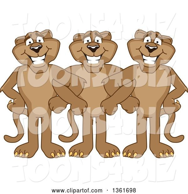 Vector Illustration of Cougar School Mascots Standing with Linked Arms, Symbolizing Loyalty
