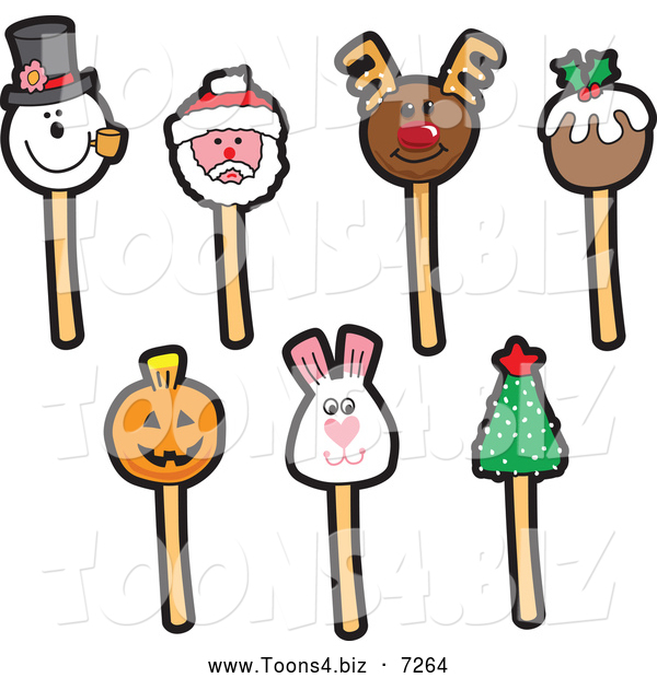 Vector Illustration of Holiday Themed Cake Pops