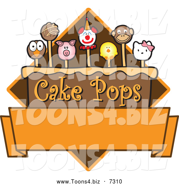 Vector Illustration of Yummy Animal Cake Pops Logo Design with Blank Copyspace - Version #3