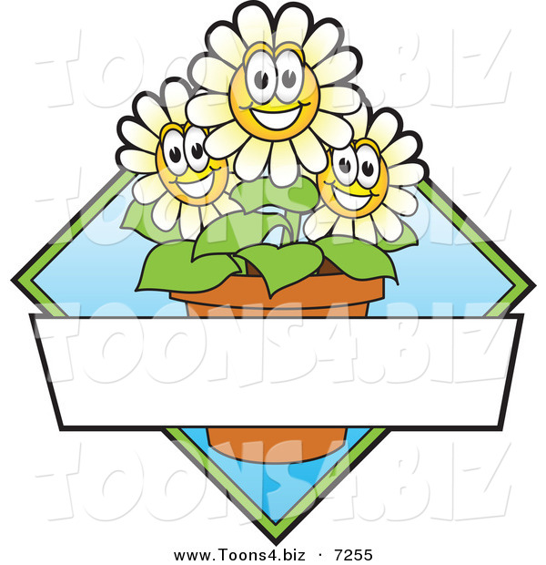 Vector Logo of Happy Cartoon Daisy Flowers in a Pot with Blank Copyspace